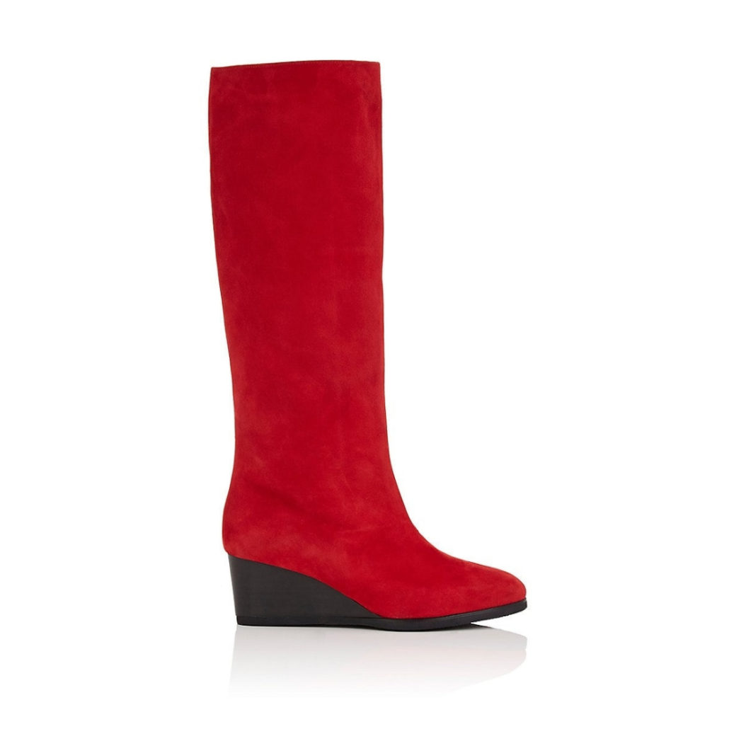 Red Suede Wedge Knee Boots | Hermosaz