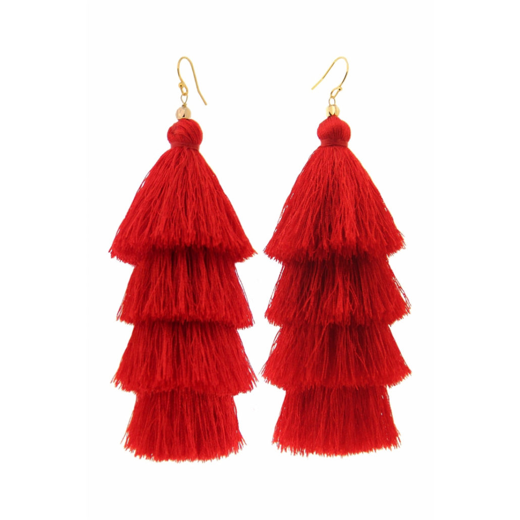 Taolei Red Tiered Tassel Earrings   Hermosaz